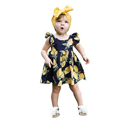 Malloom® Neugeborenes Baby Mädchen Lemon Print Zip Princess Kleid + Stirnband Outfits Kleidung Set (dunkel blau, 80)