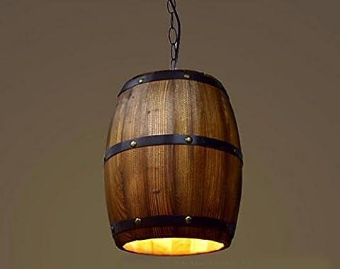 LighSCH Lustres Les boiseries de style Américain Le Restaurant Le Salon Retro Tonneau en bois 26*33cm