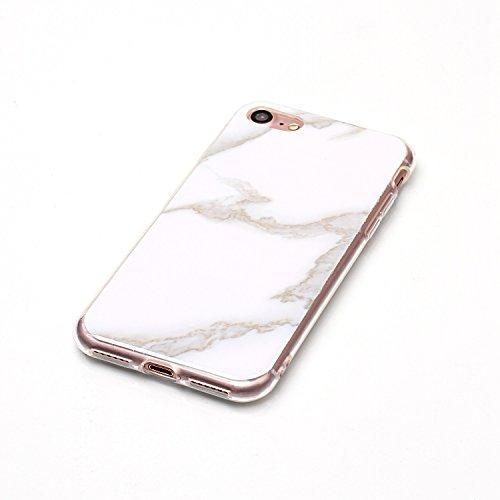 iPhone 7 / iPhone 8 Custodia,iPhone 7 / 8 Caso Di Marmo,MAGQI Flessibile Ultra Sottile Copertura Del Respingente Del Gel TPU Con Unico Marble Stone Serise Design Stampato Caso Antiurto Protezione Resi Bianco Marmo