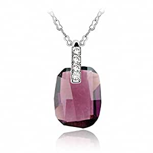 TTH Crystal Pendant Short Necklace [Following, Amethyst ] 18KGP Rhinestone