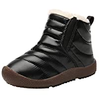 Beichuang Kids Snow Boots Girls Boys Winter Boots Slip On Waterproof Warm Fur Lined Outdoor Ankle Boots Black 9 UK Child