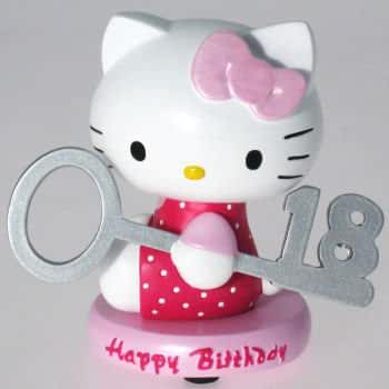 figuras kawaii Hello Kitty Happy 18th cumpleaños figura decorativa
