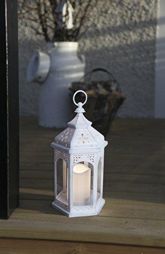 Kamaca Lanterne LED en style romantique 36 cm x 18 cm avec lumière vacillante Bougie LED et télécommande Blanc [Convient pour l'intérieur et l'extérieur]