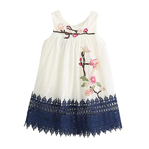 Livoral Mädchen-Blumen-Stickerei-Spitze-Partei-Schönheits-Schönheits-Prinzessin Dress Toddler Kid Baby Vest Dress(Weiß,130) -