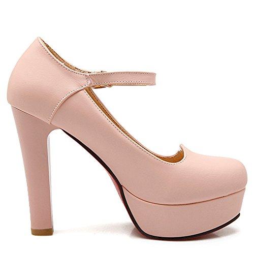 TAOFFEN Femmes Elegant Talons Hauts Escarpins Bloc Sangle De Cheville Soiree Chaussures De Boucle 736 Rose