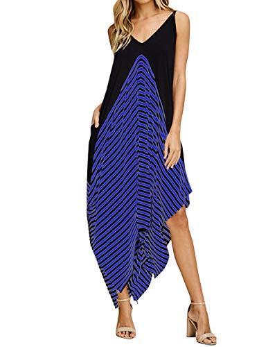Style Dome Sommerkleid Damen V Ausschnitt Ärmellos Maxi Asymmetrisch Strand Gestreift Kleid mit Taschen Blau-998448 L Max-dome