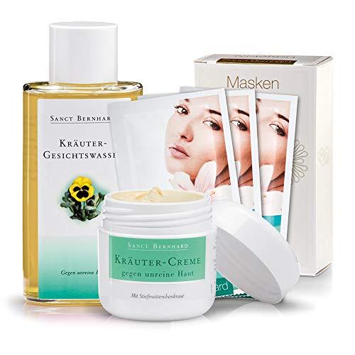 Sanct Bernhard Anti-Akne-Set (Kombipackung gegen unreine Haut, Pickel und Mitesser): Kräutercreme, Gesichtswasser, Maske - Kräuter-creme