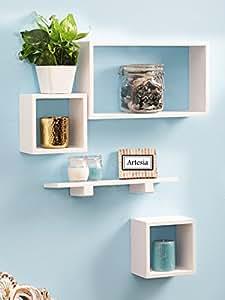 Artesia White Wooden Wall Shelf Set Of Four