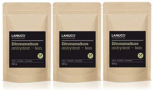 3 x 500 g Zitronensäure anhydrat - Lebensmittelqualität, Pulverform, reines Pulver, Antioxidans,...