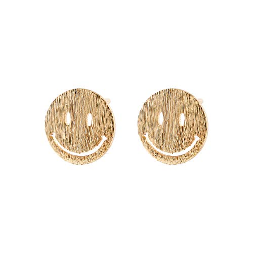 Selia runder smiley circle Ohrring round kreis Ohrstecker emoji in minimalistische Optik handgemacht (Gold)