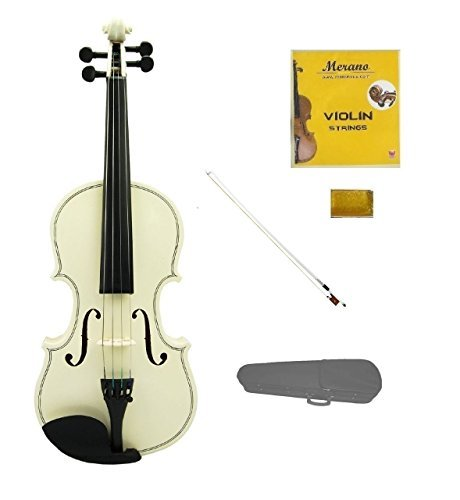 Merano 4/4 (Full) Size White Violin with White Bow, Case, Free Rosin and Extra Set of Strings for Beginners, Students, Gifts, Toys