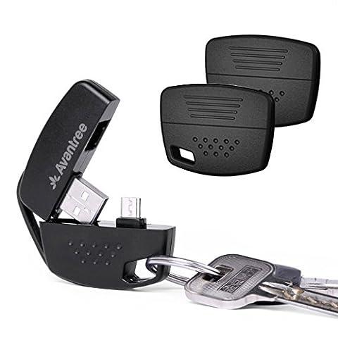 Avantree Lot de 2 Porte-clés Pratiques à Câble USB de charge, Porte-clés à Câble court Micro USB, Synchronisation data à haute vitesse, pour téléphones Samsung HTC Android et bien d'autres appareils