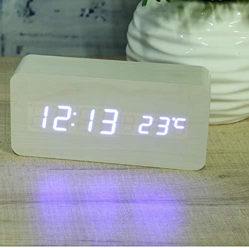ksjdjok Wecker Hölzerner Quadratischer Led-Wecker-Mehrfarbenklangsteuerungs-Desktop-Tisch-Digital-Thermometer-Holz USB/AAA-Datumsanzeige Weiß (Digital-thermometer-desktop)