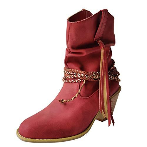Damen Winterstiefel Mode Reine Farbe runde Kappe Slipon Square Heels Vintage Frauen Stiefel Retro Stylisch Basic Ausgehen Warm Boots Rot 35