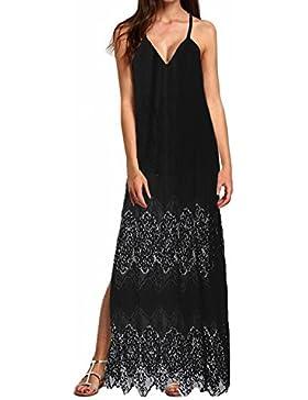 StyleDome Donna Vestito Lungo Pizzo senza Manica Abito Maxi Primavera Stampa Floreale Casual Elegante Moda