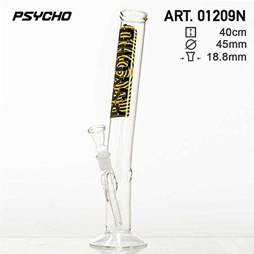 Psycho Glas Bong, Tabakpfeife leicht angewinkelt, 40cm hoch, 45mm Ø, 18,8er Schliff & Chillum