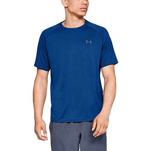 Under Armour Herren atmungsaktives Sportshirt, kurzärmliges und schnelltrocknendes Trainingsshirt mit loser Passform UA Tech 2.0 SS Tee, Blau, MD - Under Herren Trainings-shirt Armour