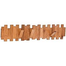 Balvi Colgador Pared Palisade Color Oscuro 4 Ganchos abatibles Bambú 54,5cm