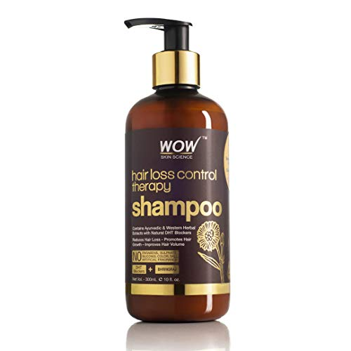 WOW Skin Science Hair Loss Control Therapy Shampoo - Contains Ayuvedic & Western Herbal Extracts with Natural DHT Blockers - For All Hair Types (300mL)