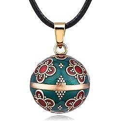 Eudora Harmonie Muguet Boule Vintage Pendentif pour Femme Fleur Bijoux Longue Collier 114,3 cm Doux Carillon Ballon