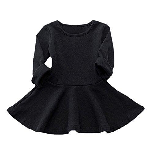 en Candy Farbe Langarm Solide Prinzessin Kleid Casual Kleinkind Kinder Swing Mini Kleid(6-12 Monate,A-Schwarz) ()