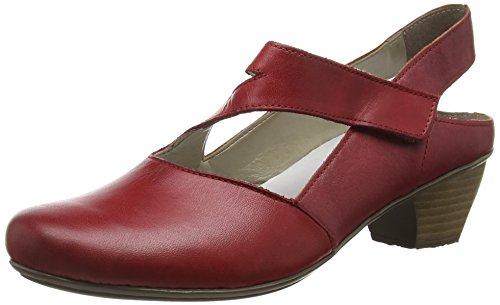 Rieker - 41779, Scarpe col tacco con cinturino a T Donna Rosso (Rosso/rosso)