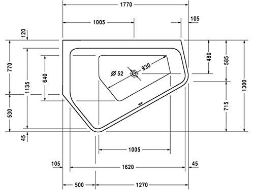 Duravit Badewanne Paiova 5 1770x1300mm Ecke links, mit Acrylverkleidung, weiß, 700394000000000