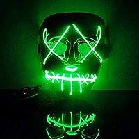 OHQ máscara Halloween Sangrienta Cara Horror Iluminar máscara LED Purge Movie EL Wire DJ Party Festival Halloween Costume MáScara Cosplay Halloween Almohada Halloween Juguete (Verde)