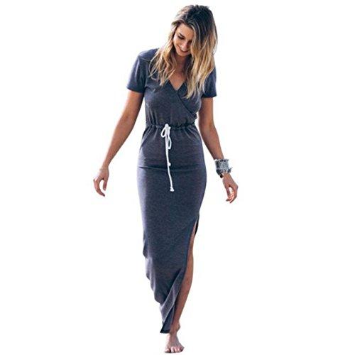 YELINGYUE Frauen Kleiden Schlanke Taille Pencil Kleid Kurzarm Krawatte Taille Bleistift Langes Kleid...