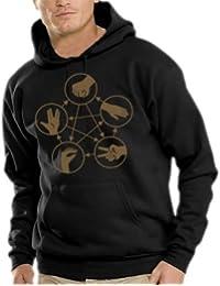 Big Bang Theory - piedra tijeras de papel Lagarto Spock sudadera con capucha-Shirt - Jersey S-XXXL varios colores Negro / Dorado Talla:large