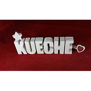 Beton, Steinguss Buchstaben 3 D Deko Schriftzug Namen KUECHE als Geschenk verpackt!