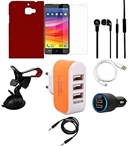 NIROSHA Tempered Glass Screen Guard Cover Case Car Charger Headphone USB Cable Mobile Holder Charger car for Micromax Canvas Nitro 2 - Combo