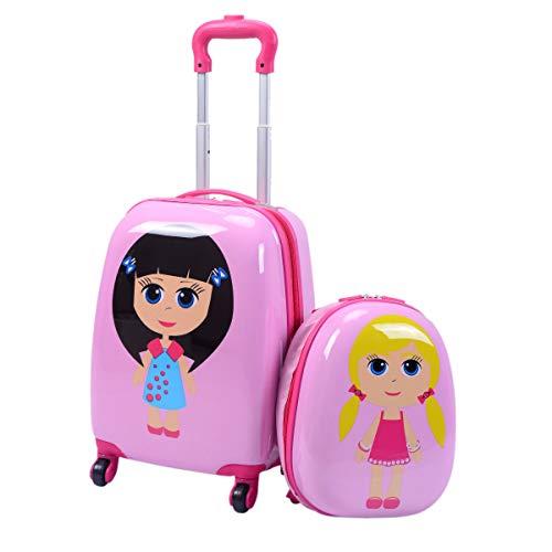 GOPLUS Kinderkoffer 2 TLG. mit Rucksack Kinder Reisekoffer Set Kinder Trolly Kinder Gepäck (Mädchen)