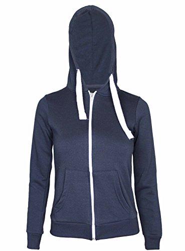 Neuf Pour Femmes Front Sweat Capuche Fermeture Éclair À Manches Longues Femmes Sweat-shirt Uni Capuche Polaire Veste Capuche Bleu - Bleu marine