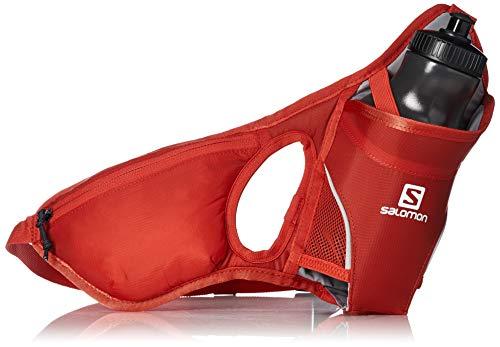 Salomon lc1091100 hydro 45 belt porta-borraccia con borraccia 600 ml 3d inclusa, circonferenza regolabile da 60 a 120 cm, rosso (fiery red)