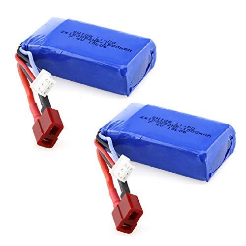 Gecoty 2pcs 7.4V 1500mAh Li-po Battery With T Plug For Wltoys A959-B A969-B A979-B K929-B R