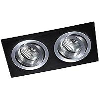 Mini superficie Luminaire Kardan 2Elio, 30° inclinabile e girevole a 360gradi, finitura nera e alluminio.