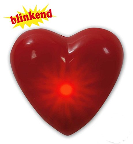 Blinkie-Anstecker Herz, Karneval, Accessoire, (Herzen Blinkende)