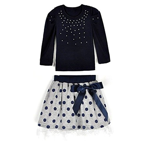 Nosii 2 Pack Kid Girl Outfits Pearl Top & Polka Dot Skirt/Vest Floral Dress Baby Children Clothes Set 2-7 Years