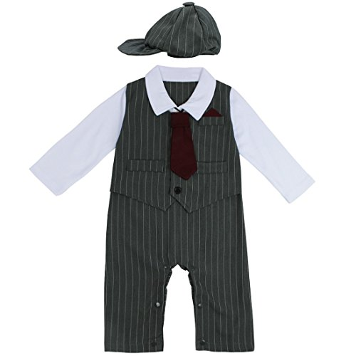 YiZYiF Baby Strampler Smoking für Jungen Kleinkind Kleidung Set Overall Bodysuit + Krawatte mit Hut Gentleman Anzug in Größe 74 80 86 92 Grau 3-6 Monate