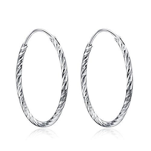 Creolen Ohrringe Damen 925 Sterling Silber Diamant-Cut Creolen Runde Ohrringe für Frauen Mädchen Unisex, Durchmesser 30,40,50mm (Diamant-Cut Creolen 30MM) (Durchmesser 30mm) (Diamant-ohrringe Sterling Silber)