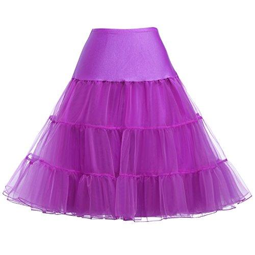 Kate Kasin Damen Mittlere Orchidee Vintage Unterrock Petticoat Elastische Taile Zwei Schichten Voile...