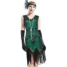 e42abec85d17 BABEYOND Robe Gatsby Femme Robe Frangée Costume Gatsby Robe Flapper 1920  Femme Robe V Cou Robe