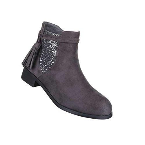 Damen Stiefeletten Schuhe Chelsea Stretch Boots Grau 37 VBgRJi5pbK