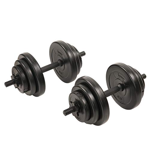 Sunny Health & Fitness Exercise Vinyl 40 Lb Dumbbell Set Hand Weights for Strength Training, Weight Loss, Workout Bench, Gym Equipment, and Home Workouts -