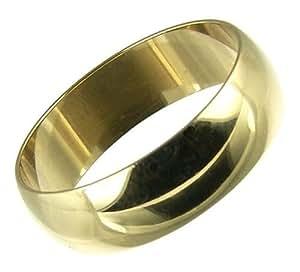 Kareco Men's Wedding Ring, 9 Carat Yellow Gold D Shape, 6mm Band Width