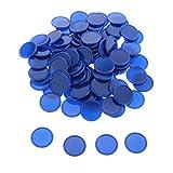 sharprepublic 100er Pack Poker Chips Bingo Chips Marker Plastikzähler Spielmarken für Brettspiele - Blau, 0.98in -