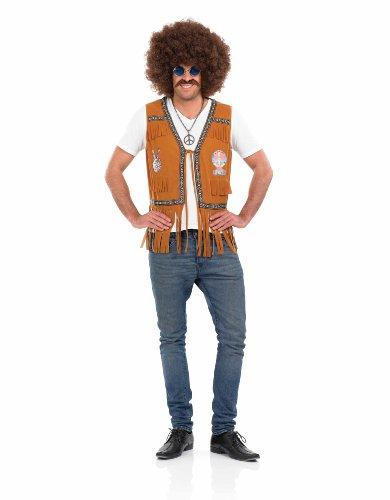 Chaleco de flecos marrón hippie hombre - L