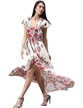 Ouneed Las mujeres florales impresa retro Palacio de noche vestido de fiesta