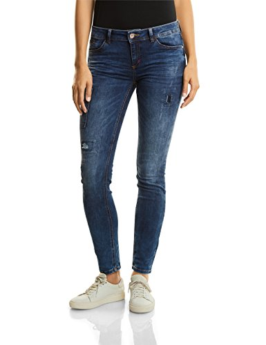 Street One Damen Slim Jeans 370995 York, Blau (Blue Indigo Fancy Wash 11107), W42/L30 (Herstellergröße: 33)